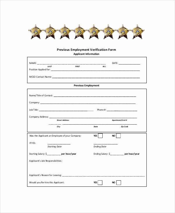 Employment Verification form Templates Awesome Sample Employment Verification form 6 Documents In Pdf