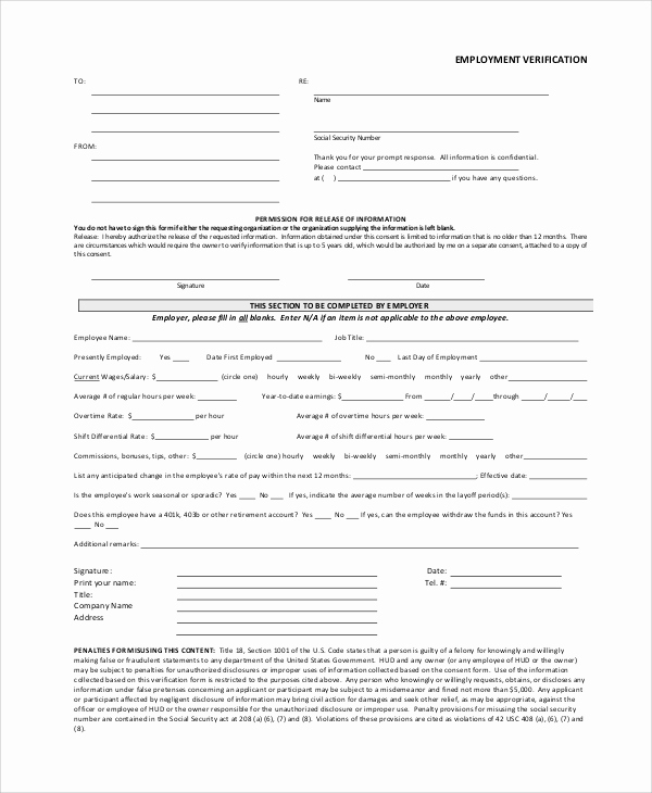 Employment Verification form Templates Fresh Verification Employment form Template