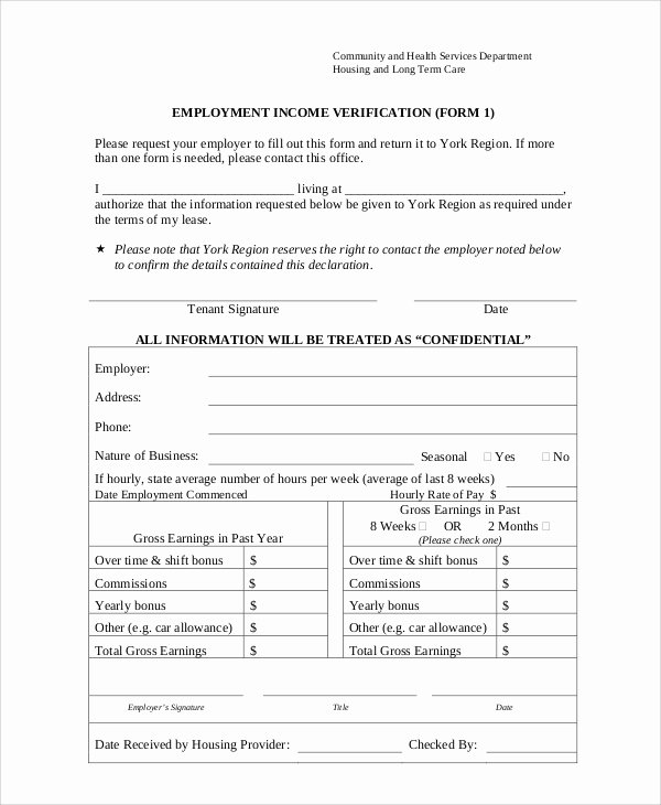 Employment Verification form Templates Inspirational Sample Employment Verification form 8 Examples In Word Pdf