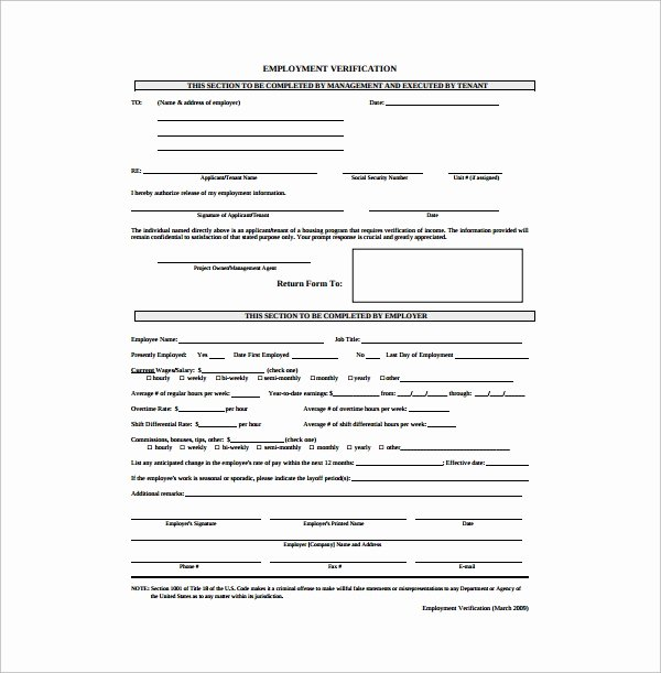 Employment Verification form Templates Lovely Free 5 Employment Authorization forms In Pdf