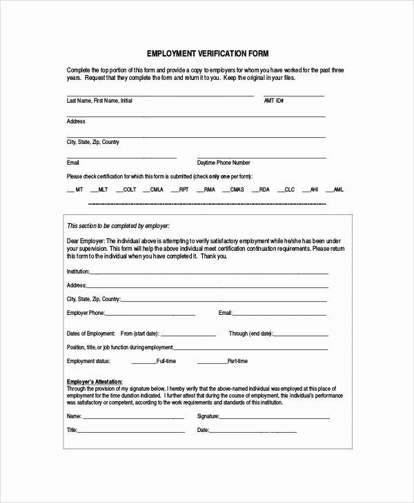 Employment Verification form Templates Unique Sample Employment Verification form 6 Documents In Pdf