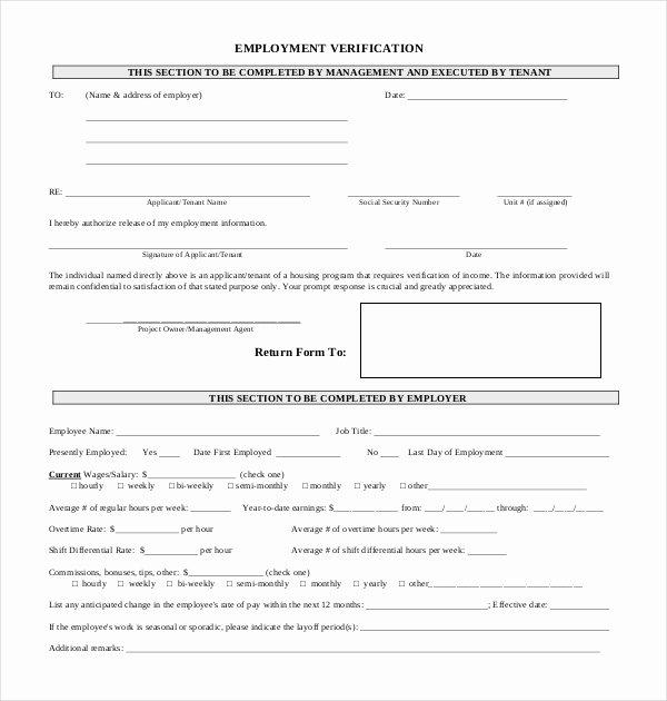 Employment Verification forms Template Beautiful 11 Sample Employment Verification forms