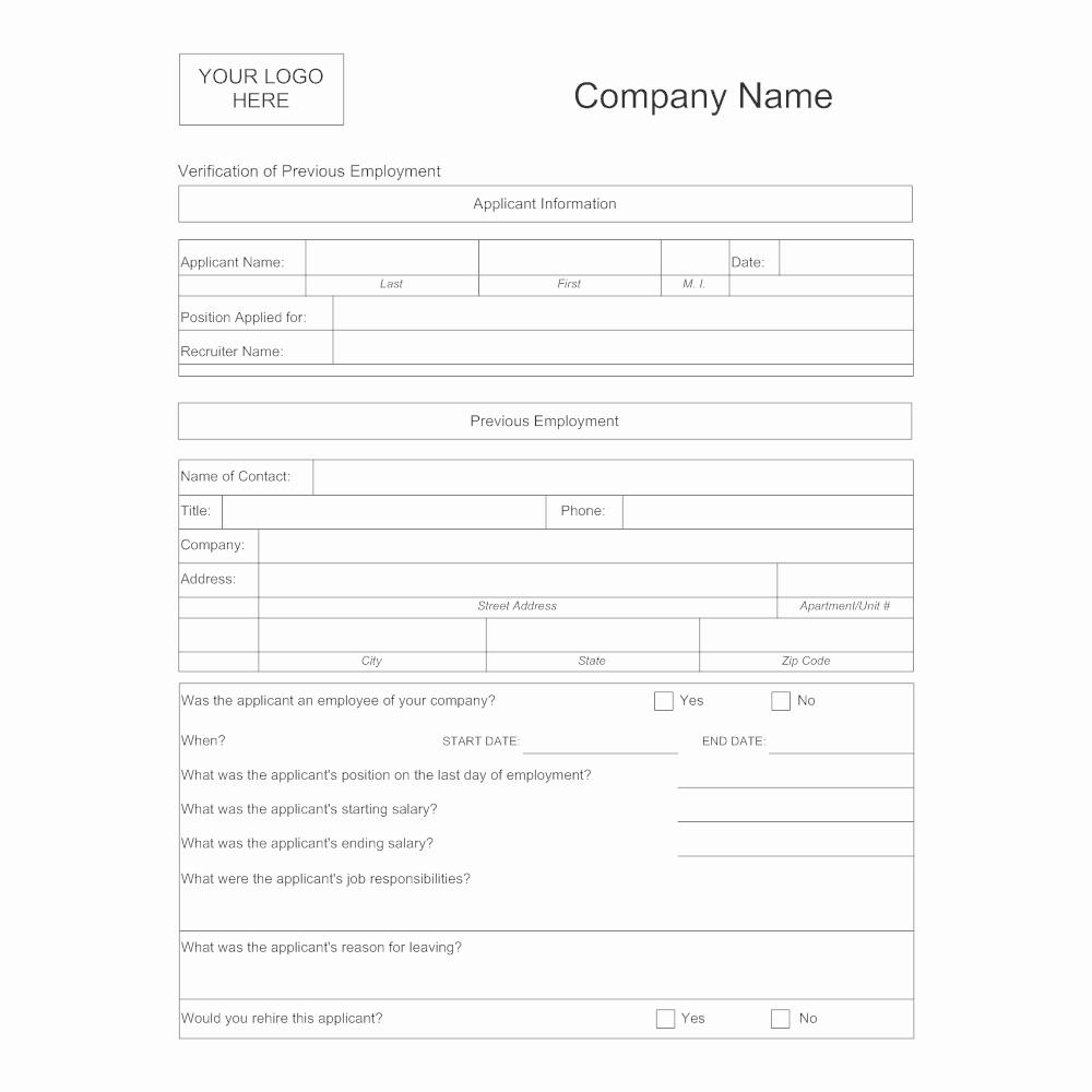 Employment Verification forms Template Beautiful Verification Of Previous Employment
