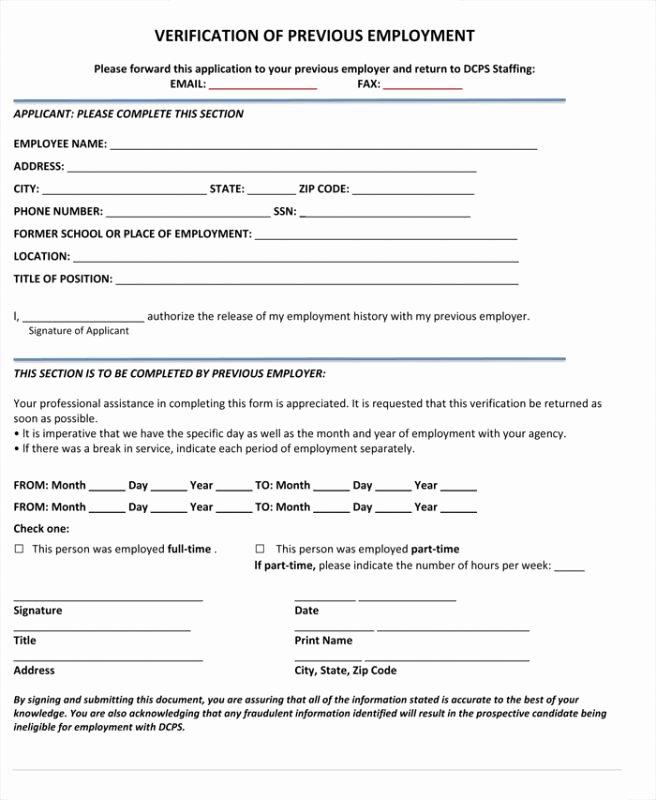 Employment Verification forms Template Inspirational Verification Employment form Template