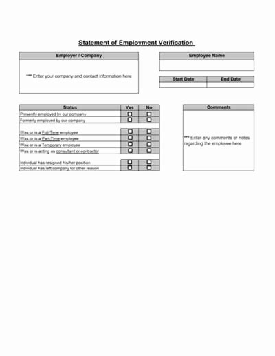 Employment Verification forms Template Luxury Employment Verification From