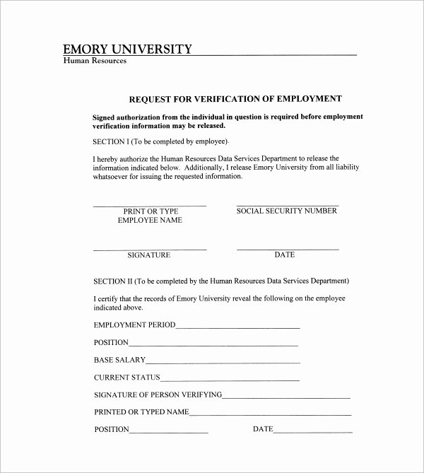 Employment Verification forms Template Unique Free 5 Employment Authorization forms In Pdf