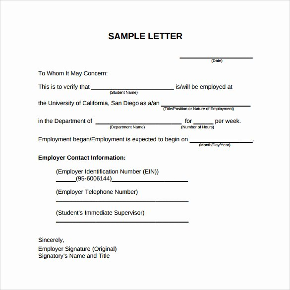 Employment Verification Letter Template Beautiful Employment Verification Letter 14 Download Free