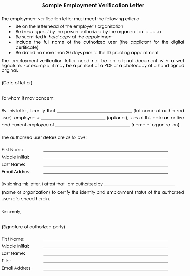 Employment Verification Letter Template Best Of Employment Verification Letter 8 Samples to Choose From