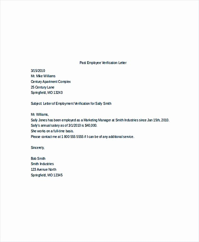 Employment Verification Letter Template Best Of Employment Verification Letter What Information to Include