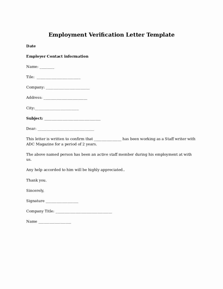 Employment Verification Letter Template Fresh 2019 Proof Of Employment Letter Fillable Printable Pdf