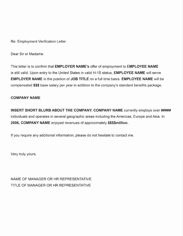 Employment Verification Letter Template Fresh Printable Sample Letter Employment Verification form