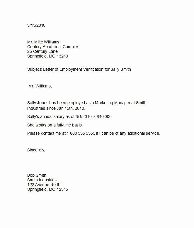 Employment Verification Letter Template Inspirational 40 Proof Of Employment Letters Verification forms