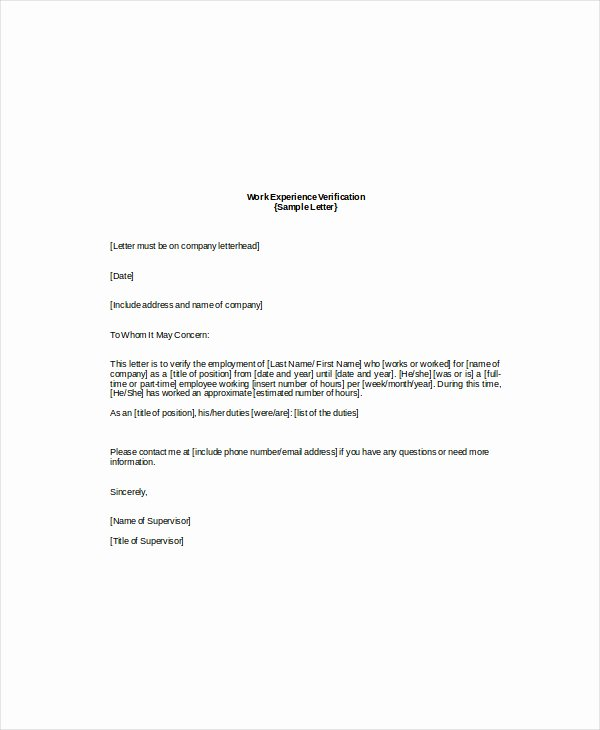 Employment Verification Letter Template Lovely Employee Verification Letter