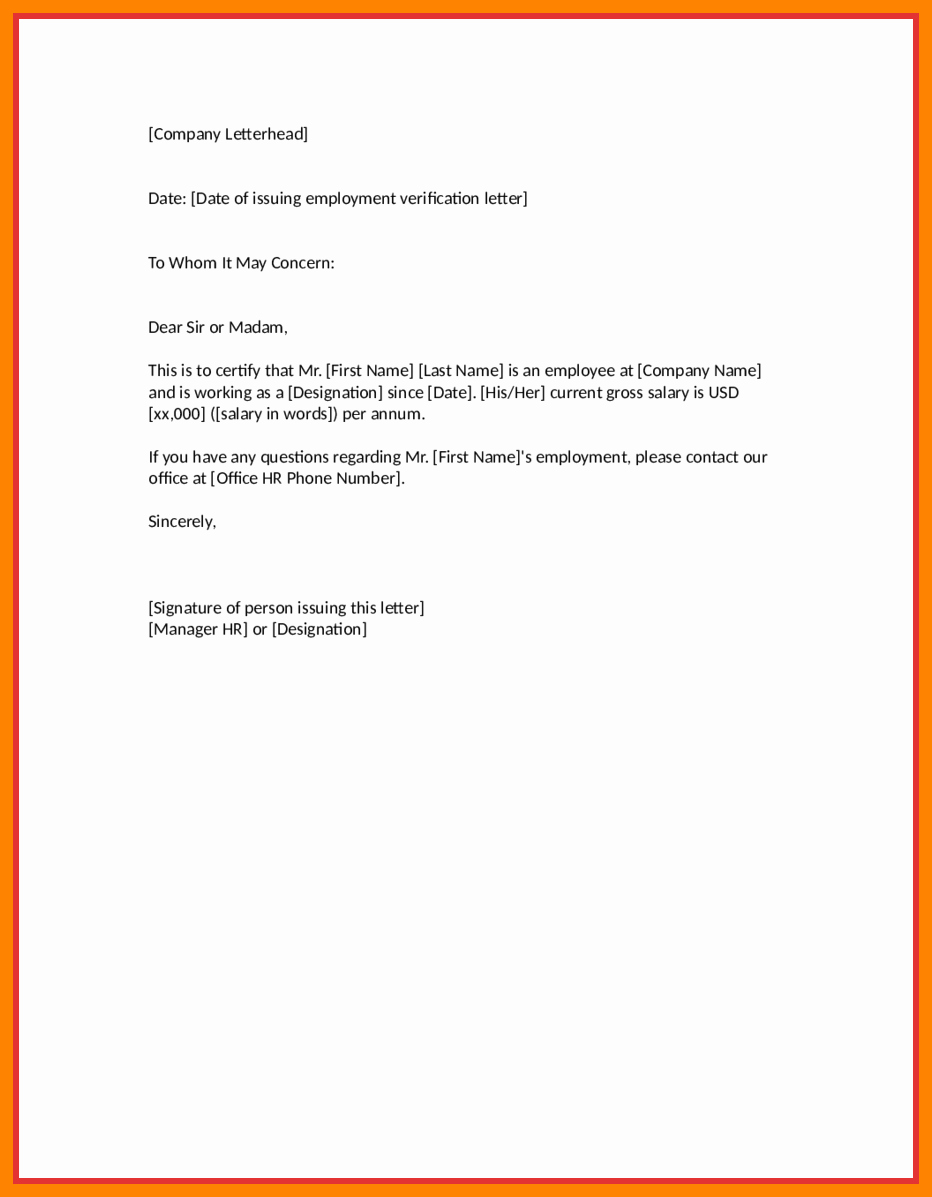 Employment Verification Letter Template Luxury Employment Verification Letter