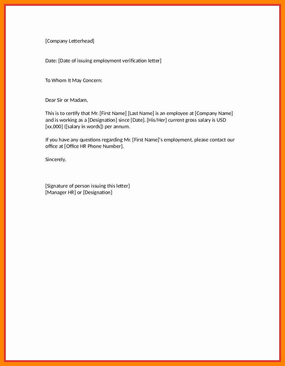 Employment Verification Letter Template Luxury Employment Verification Letter