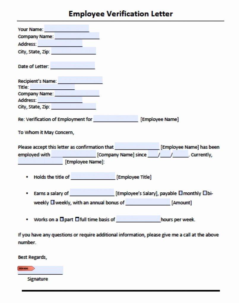 Employment Verification Letter Template New Download Employment Verification Letter Template with