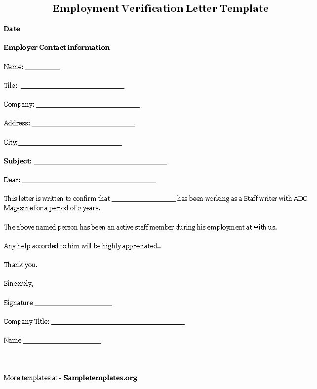Employment Verification Letter Template New Printable Sample Letter Employment Verification form