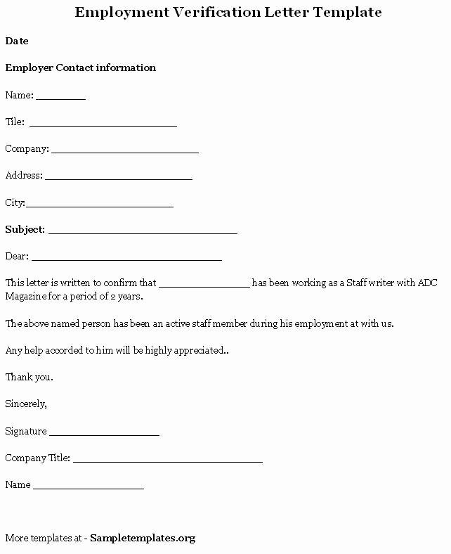 Employment Verification Letter Template New Printable Sample Letter Employment Verification form