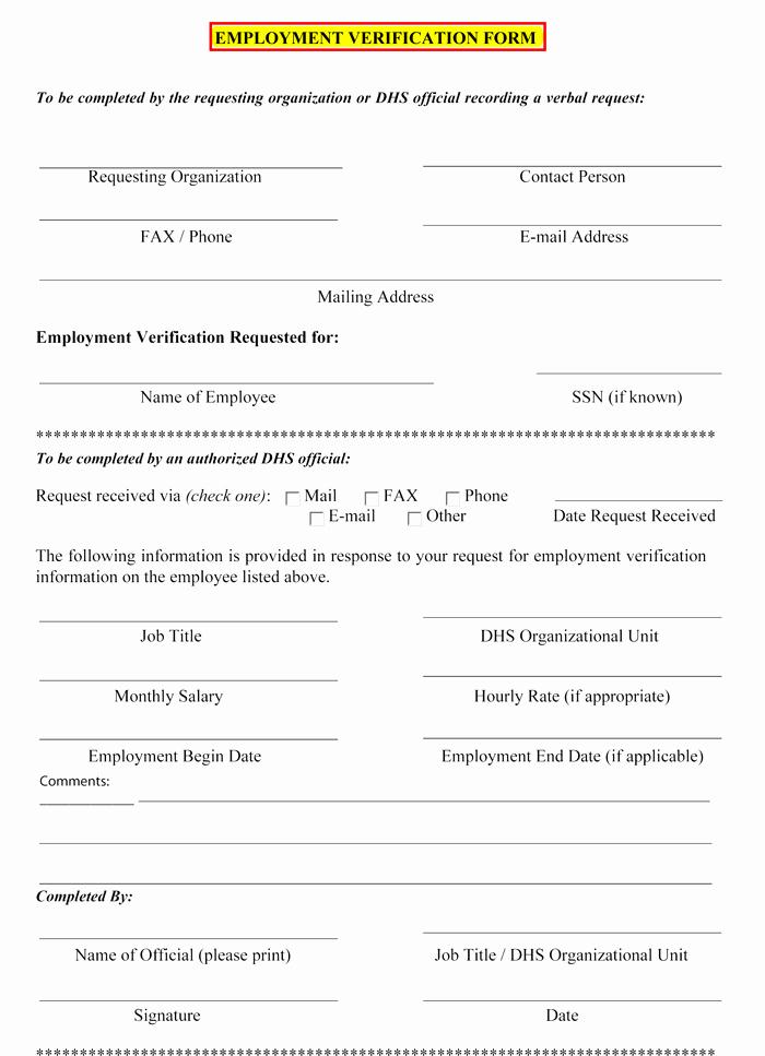 Employment Verification Letter Template Word Elegant 5 Employment Verification form Templates to Hire Best Employee