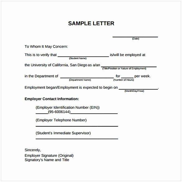 Employment Verification Letter Template Word Fresh Employment Verification Letter Template Word