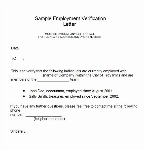 Employment Verification Letter Template Word Lovely Employment Verification Letter Template Word