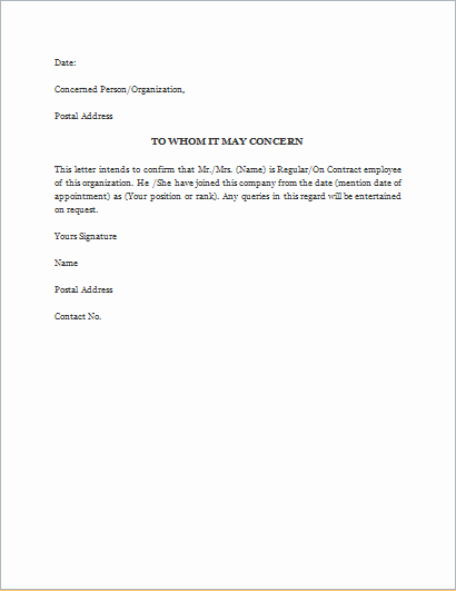 Employment Verification Letter Template Word Lovely Proof Employment Letter