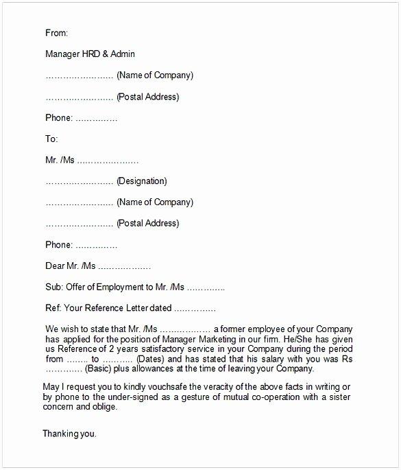 Employment Verification Letter Template Word Luxury Employment Verification Letter Template Word