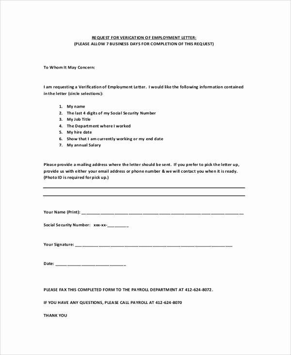 Employment Verification Letter Template Word Luxury Employment Verification Request form Template Image
