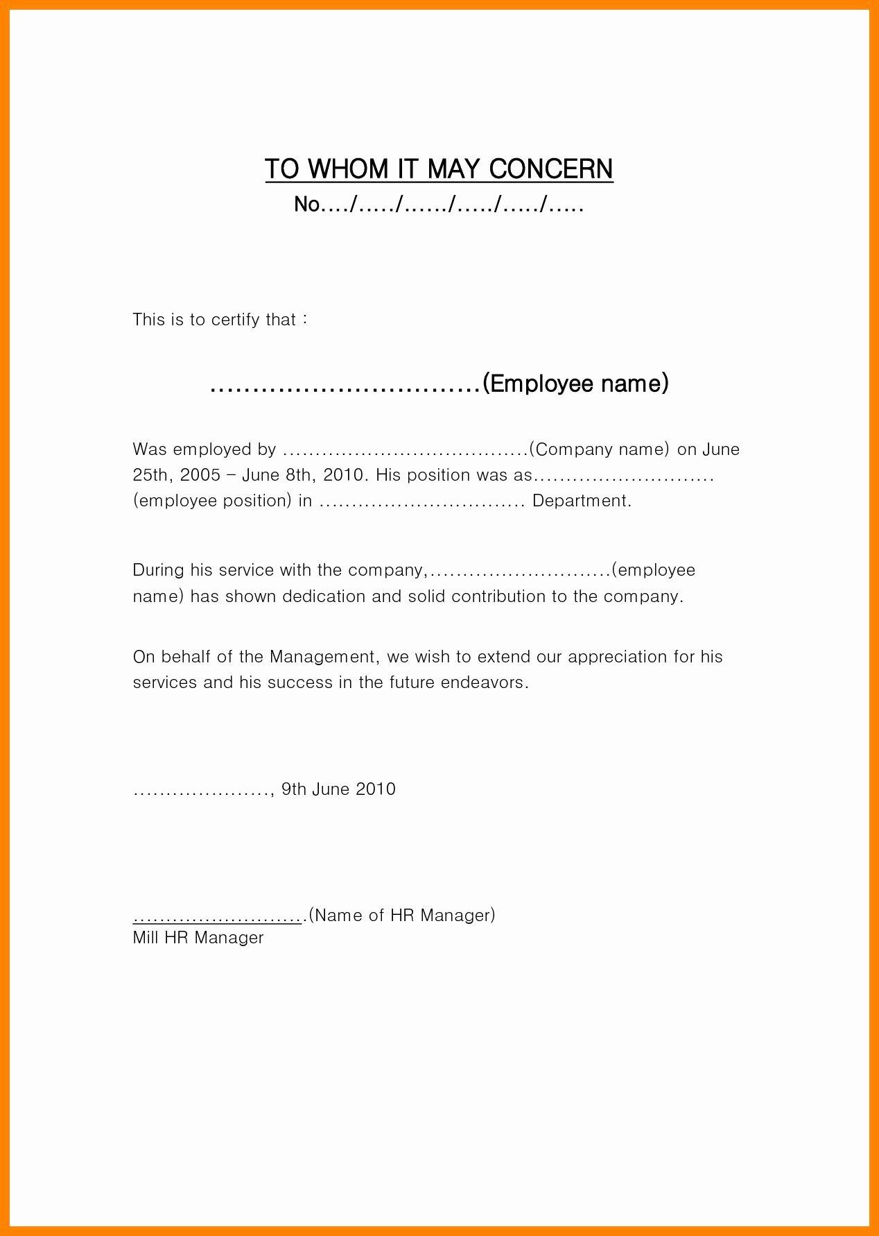 Employment Verification Letter Template Word New Employment Verification Letter to whom It May Concern