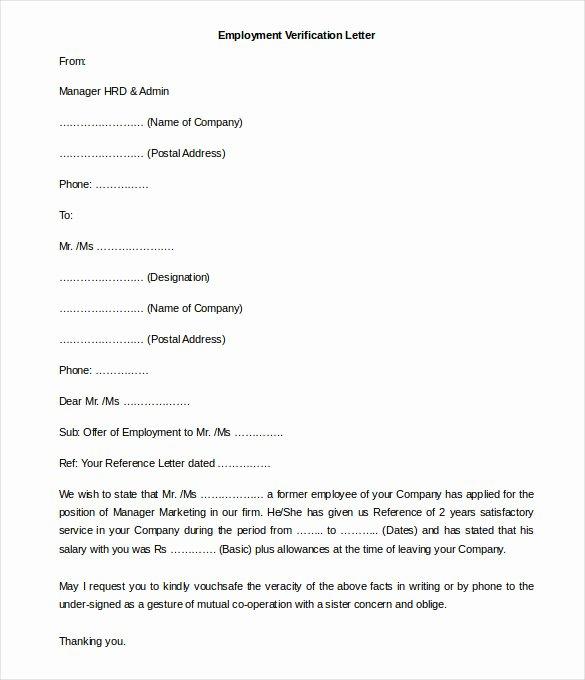 Employment Verification Letter Template Word Unique 11 Free Employment Letter Template Doc Pdf