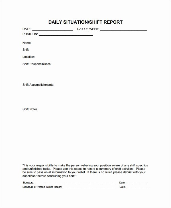 End Of Shift Report Template Luxury 10 Shift Report Templates Word Pdf Pages
