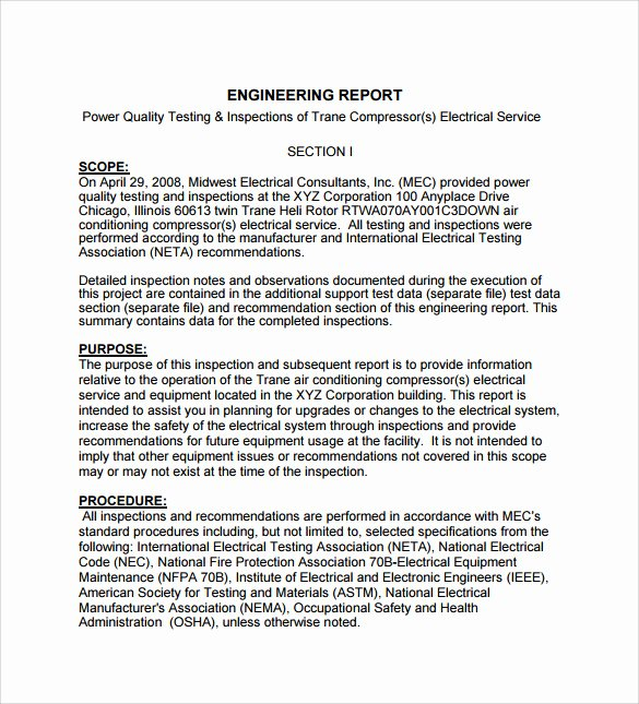 Engineering Technical Report Template Awesome 17 Sample Engineering Reports Pdf Word Pages