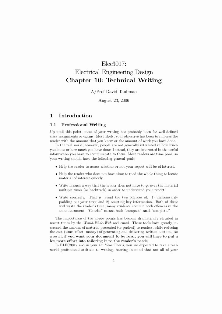 Engineering Technical Report Template Awesome Chapter10 Technical Writing