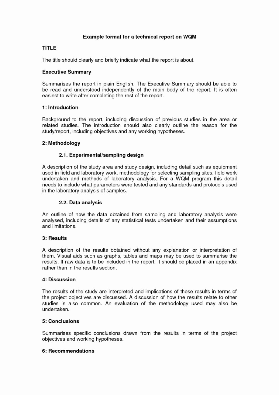Engineering Technical Report Template Elegant Technical Report Writing Sample form Template Example Doc