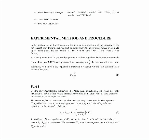Engineering Technical Report Template Fresh Technical Lab Report Example 16 Sample Engineering