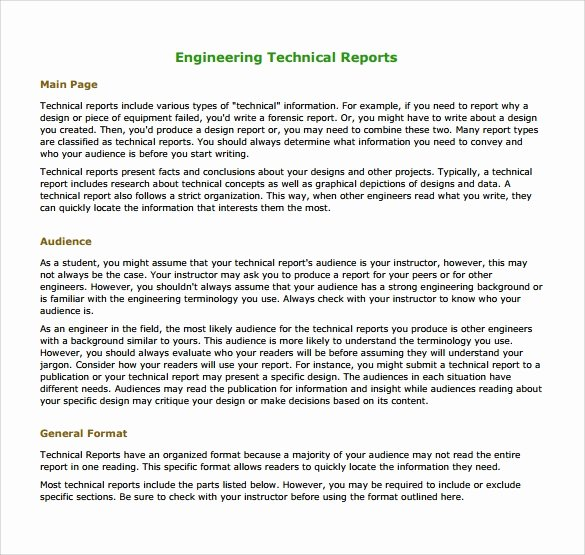 Engineering Technical Report Template Lovely 17 Sample Engineering Reports Pdf Word Pages