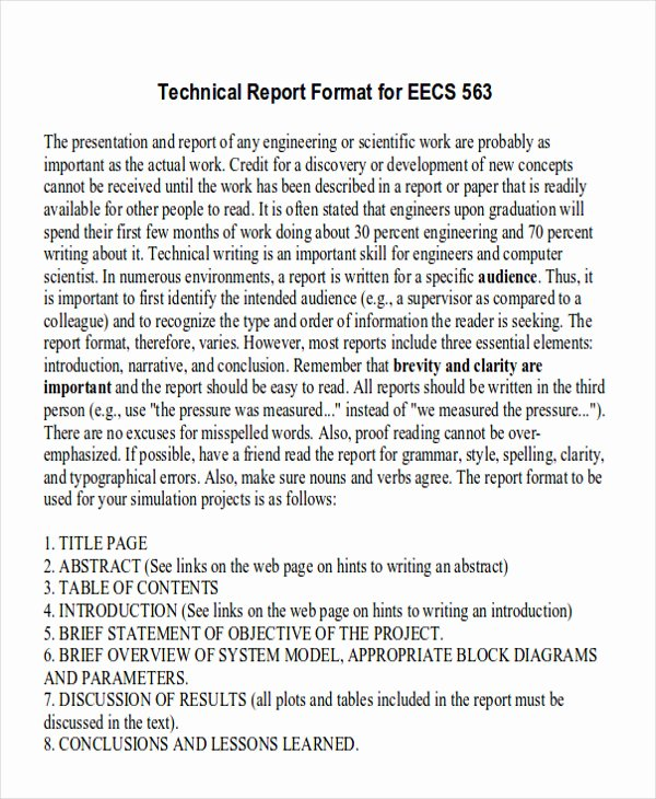 Engineering Technical Report Template Lovely 9 Sample Technical Reports Pdf Word
