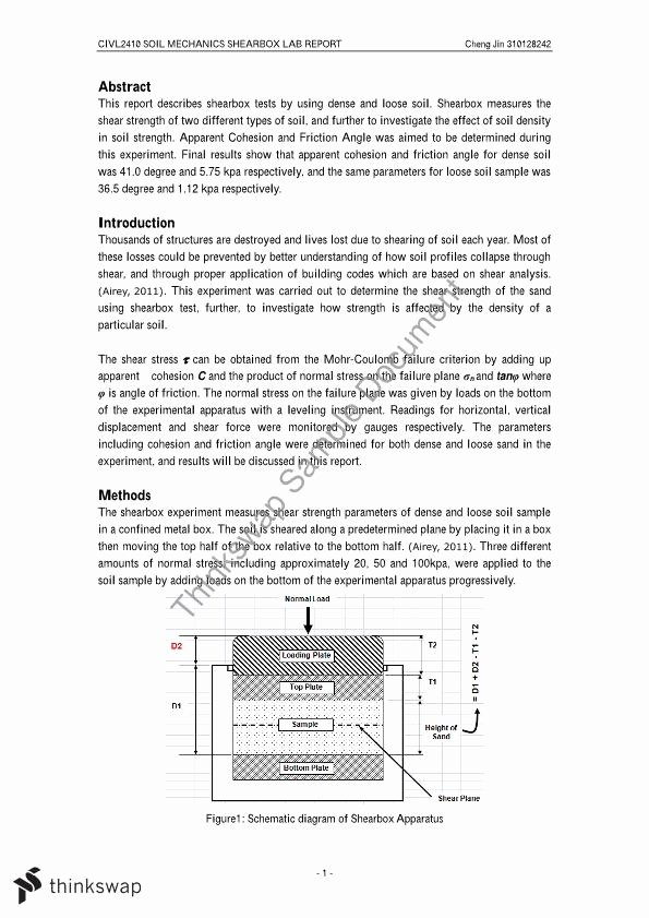 Engineering Test Report Template Beautiful Shear Box Test Report Civl2410 soil Mechanics