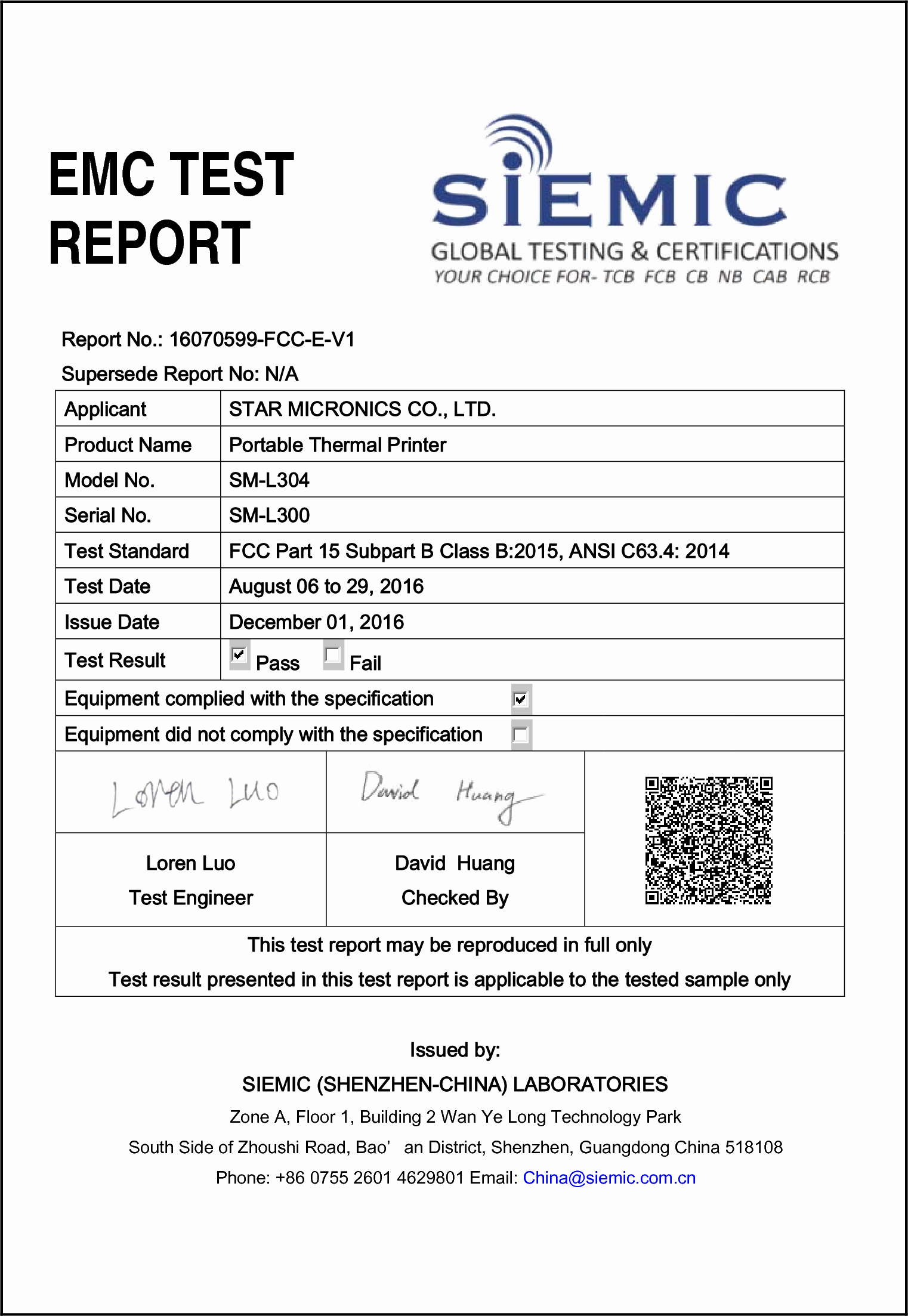 Engineering Test Report Template Inspirational Sm L300 Portable thermal Printer Test Report Fcc