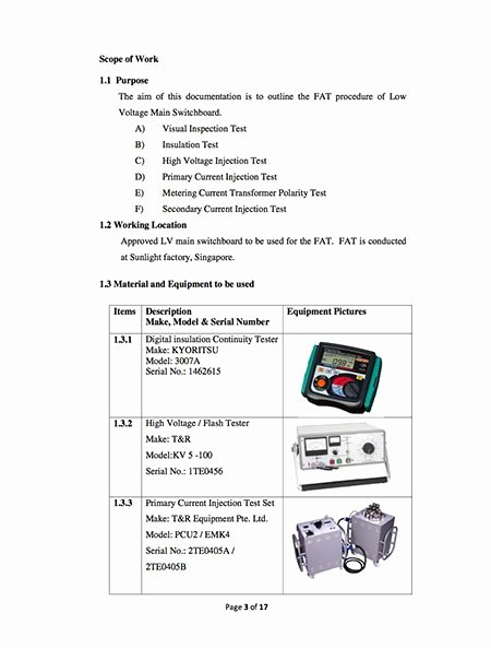 Engineering Test Report Template Lovely Fat Procedure for Lv Switchboards