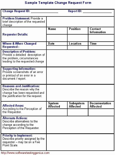 Engineering Test Report Template Luxury software Change Request form and Its Sample Template