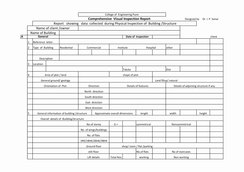 Engineering Test Report Template Unique Pdf Building Inspection Table format for Structural