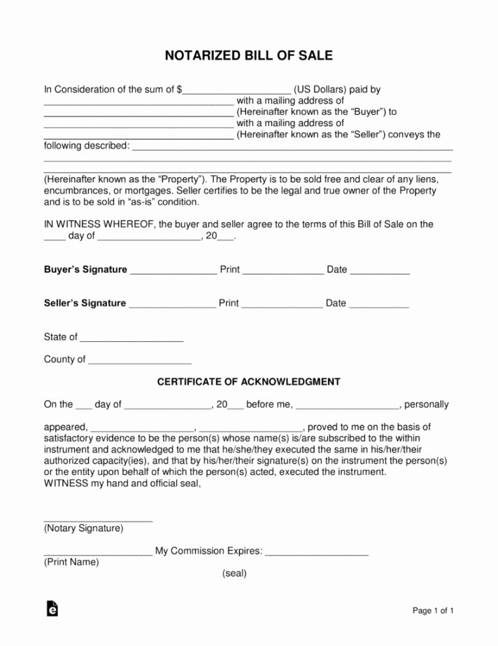 Equipment Bill Of Sale Template Beautiful Editable Free Notarized Bill Sale form Word Pdf Eforms
