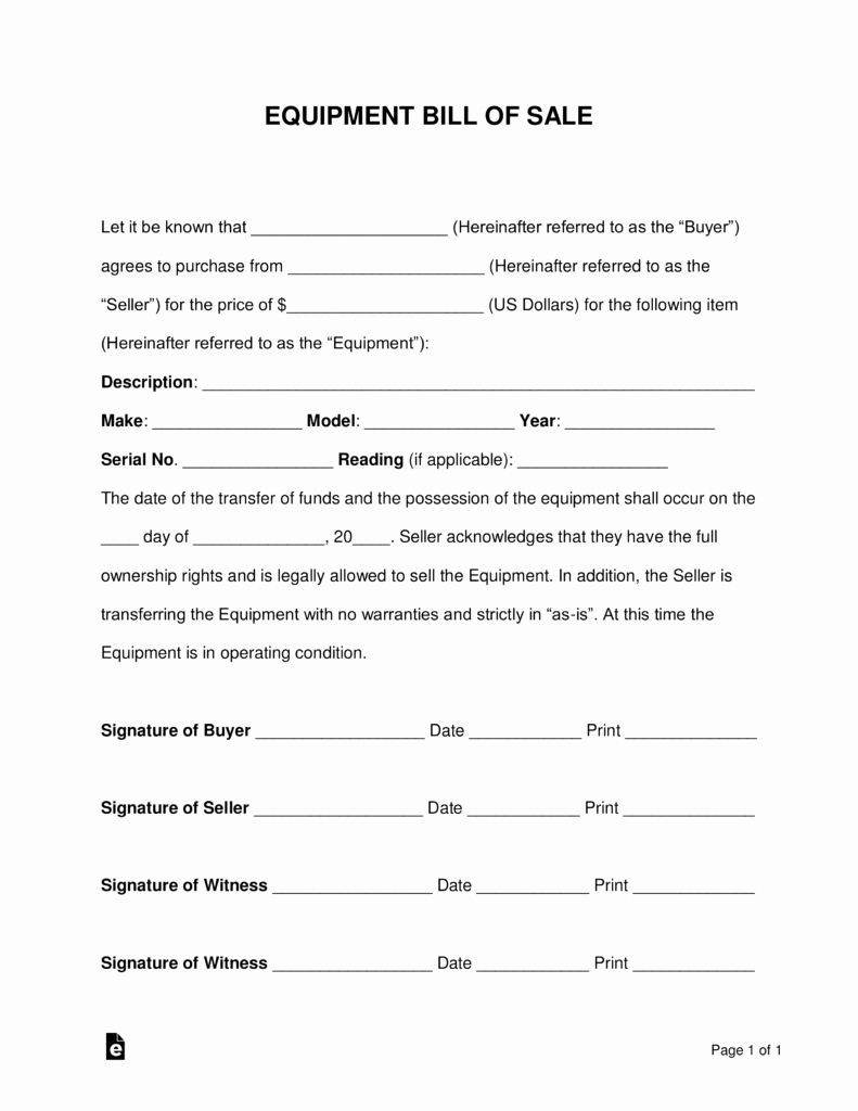 Equipment Bill Of Sale Template Beautiful Free Equipment Bill Of Sale form Word Pdf