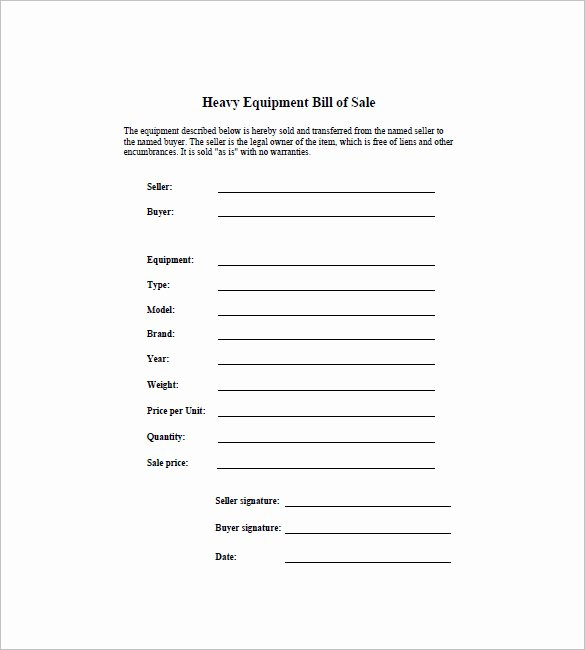 Equipment Bill Of Sale Template Elegant Equipment Bill Of Sale 7 Free Word Excel Pdf format