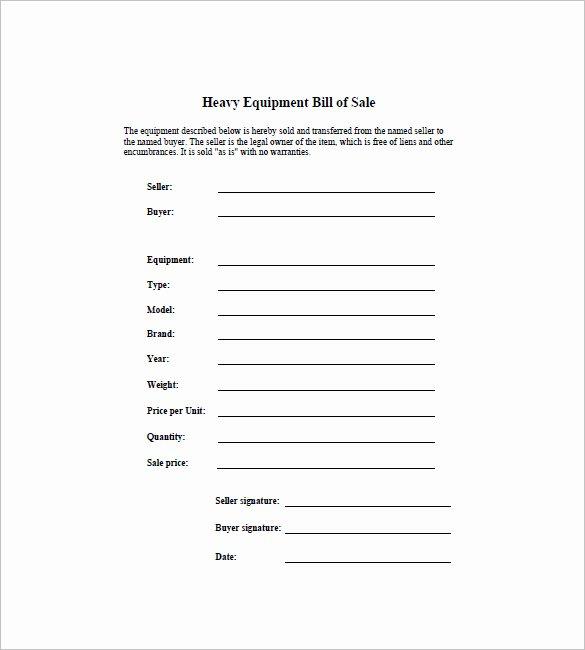 Equipment Bill Of Sale Template Elegant Equipment Bill Of Sale 7 Free Word Excel Pdf format