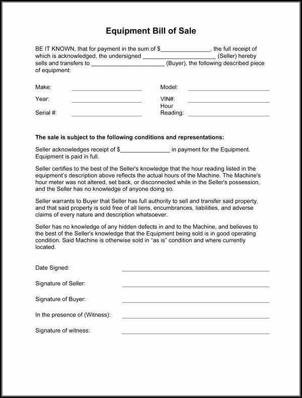 Equipment Bill Of Sale Template Inspirational Equipment Bill Sale Template Free Printable Documents