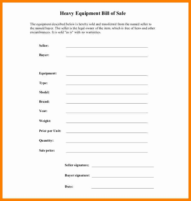 Equipment Bill Of Sale Template Lovely 11 Equipment Bill Of Sale Template