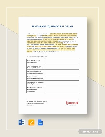 Equipment Bill Of Sale Template Lovely Equipment Bill Of Sale 7 Free Word Excel Pdf format