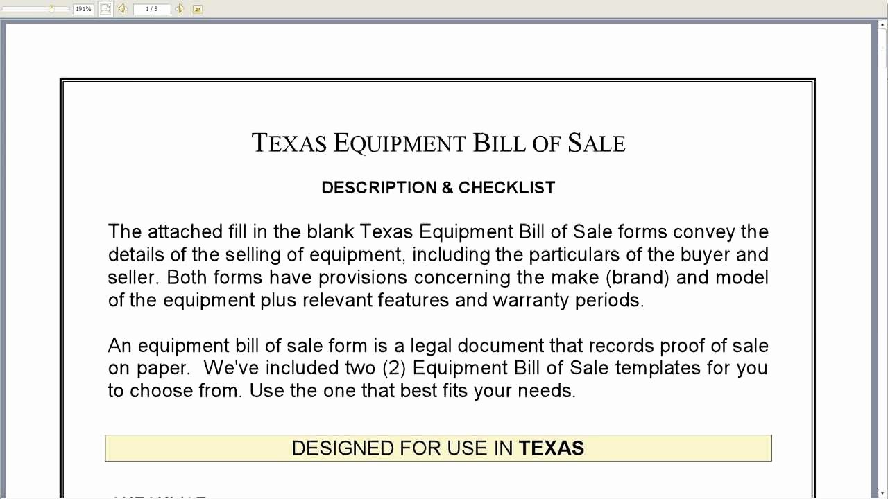 Equipment Bill Of Sale Template Luxury Free Printable Equipment Bill Sale Template form Generic